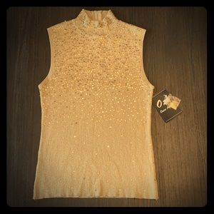 Once Again Gold Sequine Top ~ Sz Large